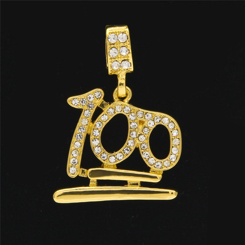 100 Emoji Golden Necklace Pendant Chain Jersey Champs