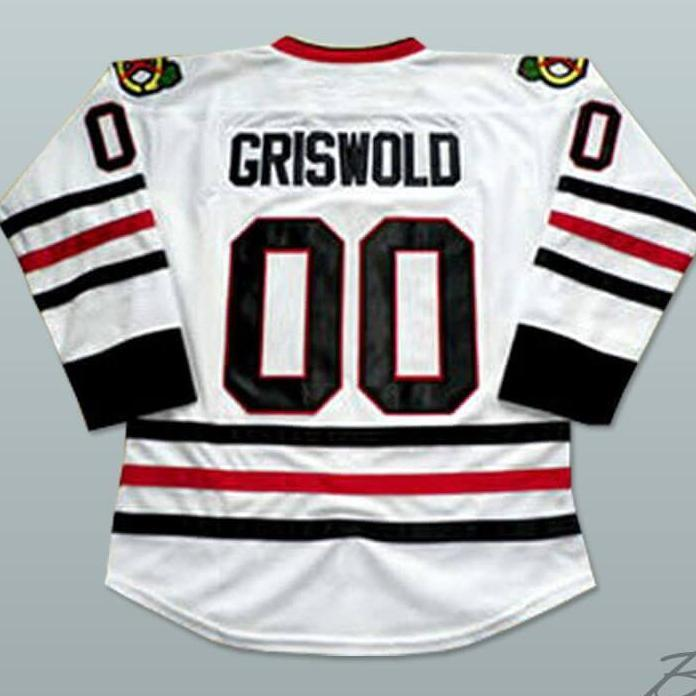Clark Griswold Christmas Vacation Blackhawks White Hockey Jersey ... 37c6ced2557