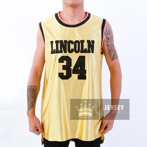 Gold Ray Allen Jesus Shuttlesworth 34 Lincoln High School Stitched Basketball Jersey