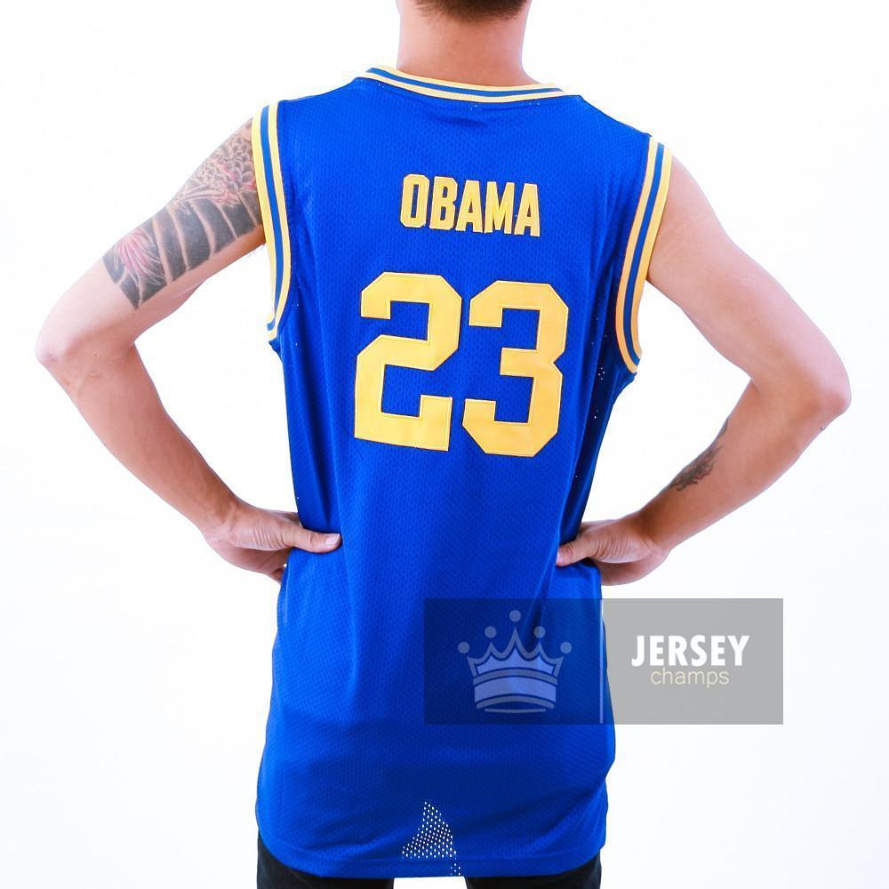 Barack Obama Punahou High School Basketball Jersey Blue Stitched - Jersey Champs