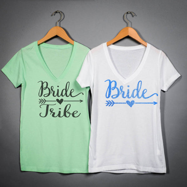 Bride Tribe V-neck Bridesmaid shirts bachelorette party tanks, express shipping  111