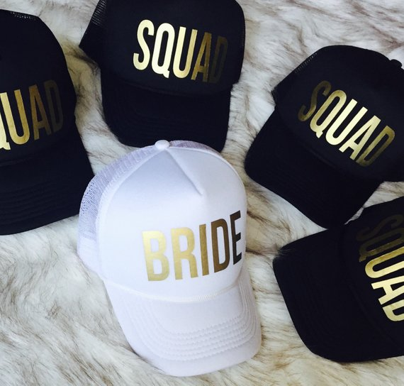 Squad Bachelorette hats, bridesmaid hats, bridal party hats