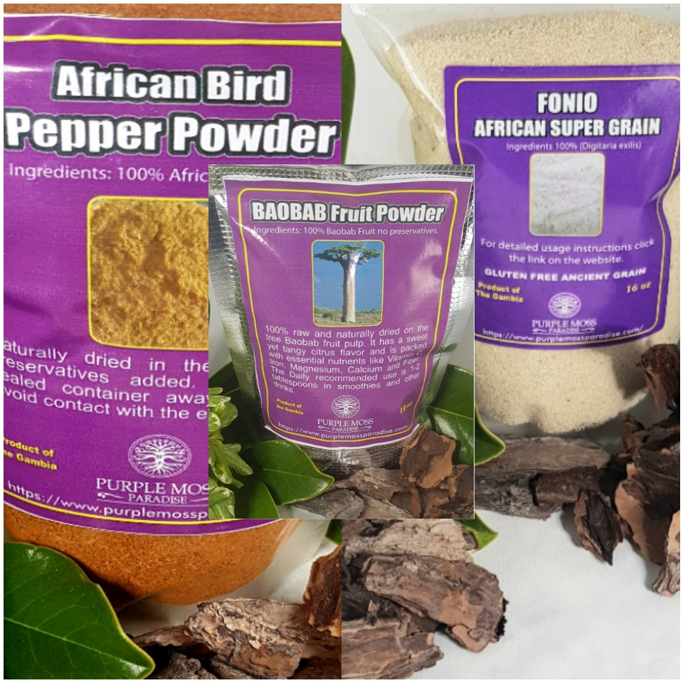 The Gambia Package. 10 oz Baobab powder, 8 oz African bird pepper & 1 LB Fonio grain