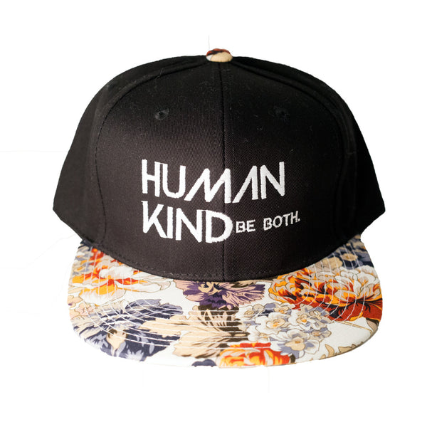 Human Kind Be Both Snapback Floral Orange - Digital Native Designs