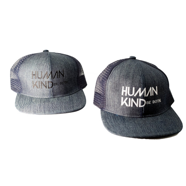 Human Kind Be Both Trucker Hat Denim - Digital Native Designs