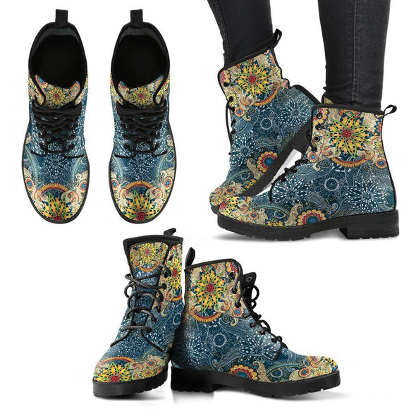 HandCrafted Yellow Flower Fractal Mandala Boots
