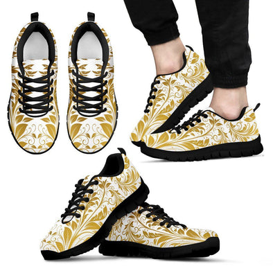 Mens White and Gold Leaf V2 Sneakers.