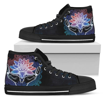 Womens Spiritual Lotus In Hand High Top