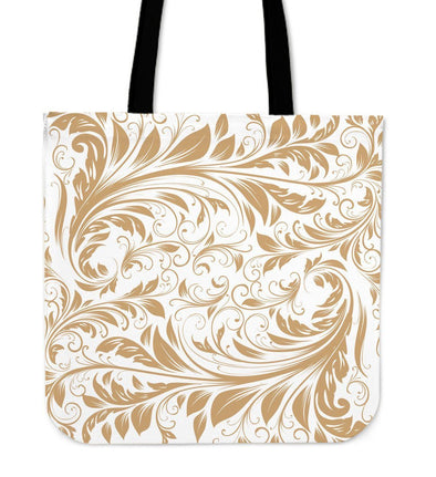 White and Gold Leaf V2 Tote Bag