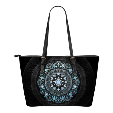 Winter Leaves Mandala Small Leather Tote