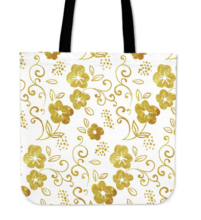 White and Gold Leaf Tote Bag