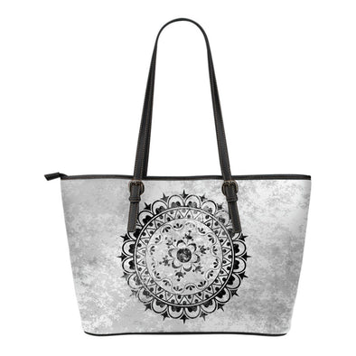 Black Jewel Mandala Small Leather Tote Bag