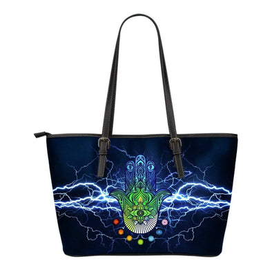 Mandala Energy Small Leather Tote Bag