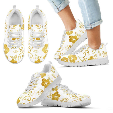 Kids White and Gold Leaf Sneakers.