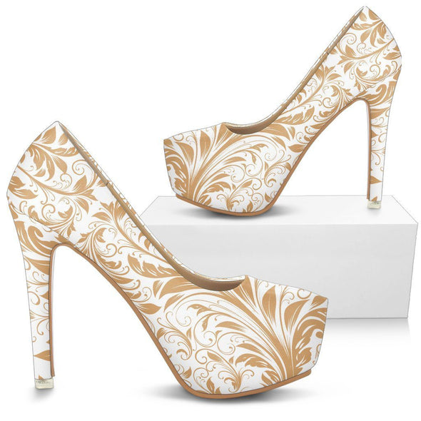 Womens White and Gold Leaf V2.