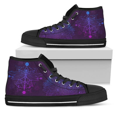 Womens Purple Dragonfly Fractal High Top