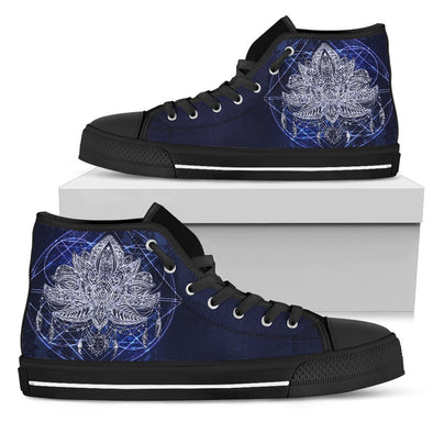 Womens Blue Lotus Fractal High Top