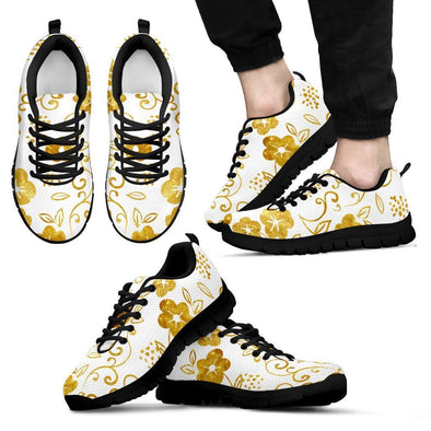 Mens White and Gold Leaf Sneakers.