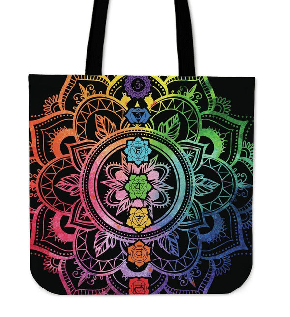 Colorful Lotus Mandala Tote Bag