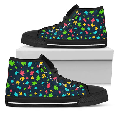 Canvas High Top Sneaker Casual Skate Shoe Boys Girls Autism Awareness Puzzle Butterfly