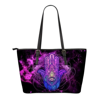 Hamsa Sacred Geometry Small Leather Tote Bag