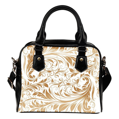 White and Gold Leaf V2 Shoulder Handbag