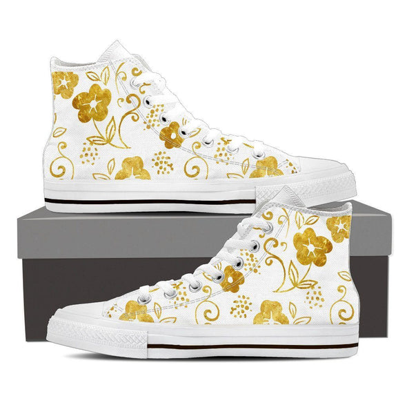 Womens White and Gold Leaf High Top.