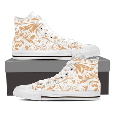 Mens White and Gold Leaf V2 High Top.