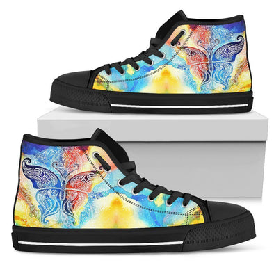 Womens Colorful Butterfly Fractal High Top
