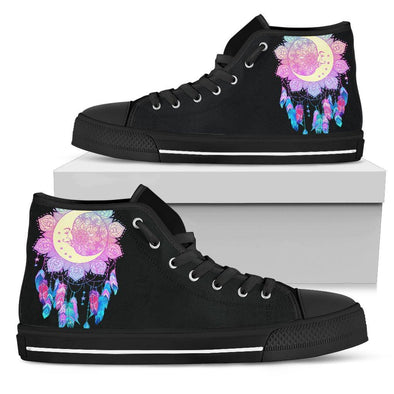 Womens Colorful Moon Fractal High Top
