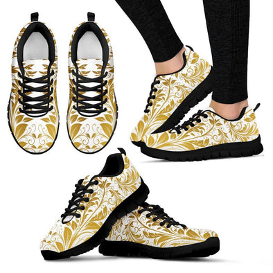 Womens White and Gold Leaf V2 Sneakers.