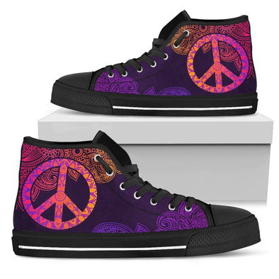 Womens Colorful Peace Mandala High Top