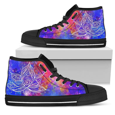 Womens Watercolor Lotus High Top