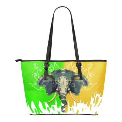 Boho Summer Elephant Small Leather Tote Bag