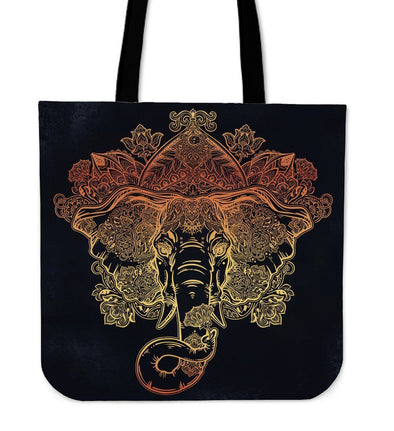 Gold Elephant Mandala Tote Bag