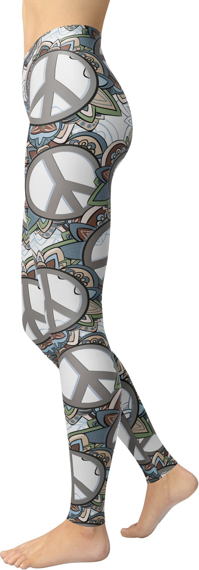 HandCrafted Peace White Leggings