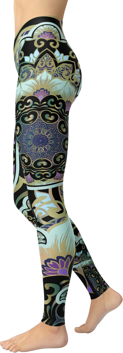 HandCrafted Hand of Hamsa Mirrored Leggings