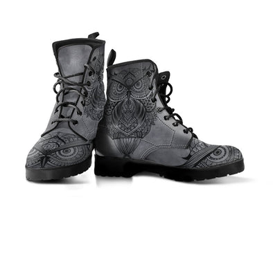 HandCrafted Grey Owl Mandala Boots