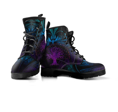 HandCrafted Blue Purple Fractal Tree of Life Boots