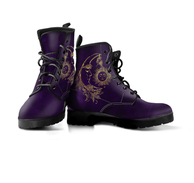Dark Purple Handcrafted Sun and Moon Boots