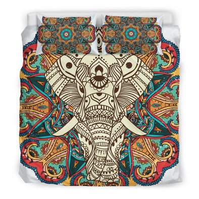 Mandala Elephant Colorful Brown Bedding Set