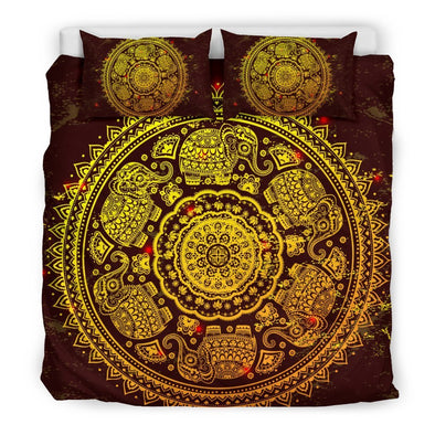 Mandala Elephant Gold Bedding Set