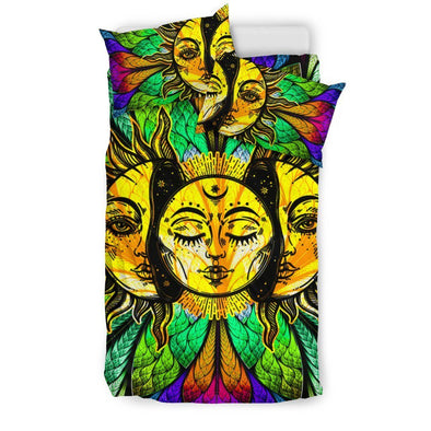 Glowing Sun and Moon Bedding Set .