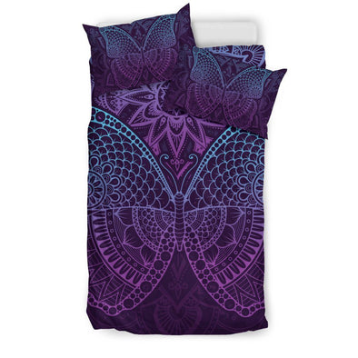 Purple Butterfly Bedding Set .