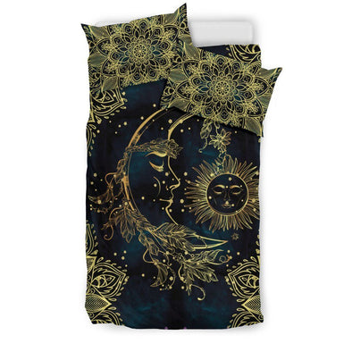 Gold Sun and Moon Bedding Set .