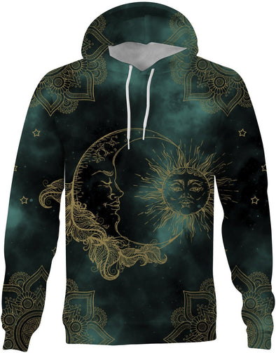 HandCrafted Green Sun and Moon Mandala Hoodie