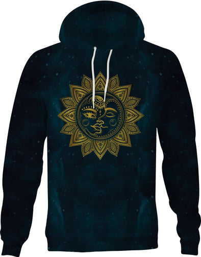 HandCrafted Golden Sun and Moon Hoodie