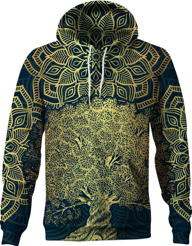 HandCrafted Gold Tree of Life Mandala Hoodie