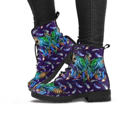 HandCrafted Colorful Purple Wings Boots