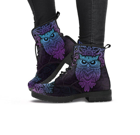 HandCrafted Purple Owl Boots